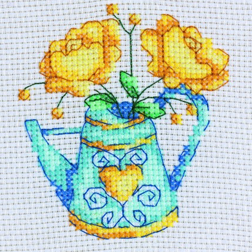 Counted Cross Stitch Mini Kit - Flowers with Teapot
