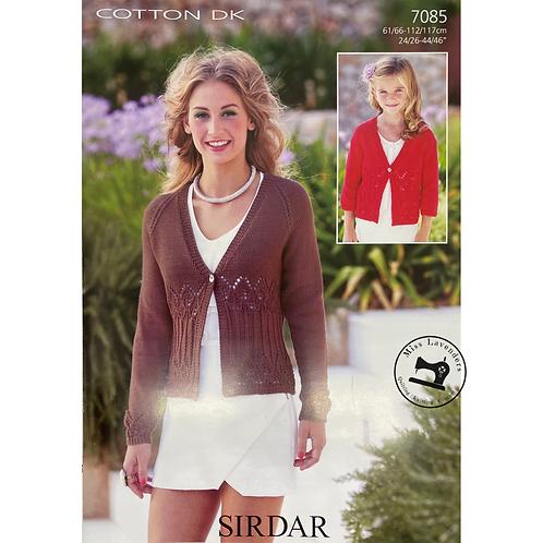 Sirdar ladies/Childs Cardigan Cotton DK 7085