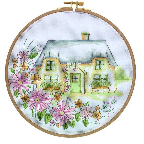 Tuva Cross Stitch Kit with Wooden Hoop Country Retreat