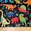 Thumbnail: Dinosaur Print Fabric Black - 100% Cotton