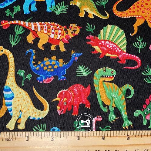 Dinosaur Print Fabric Black - 100% Cotton