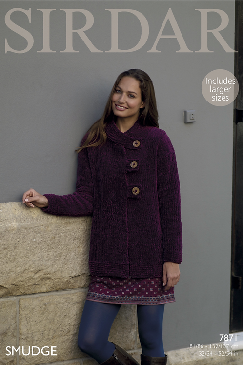 Sirdar Smudge Cardigan/Jacket - Chenille Chunky - Knitting Pattern - 8094