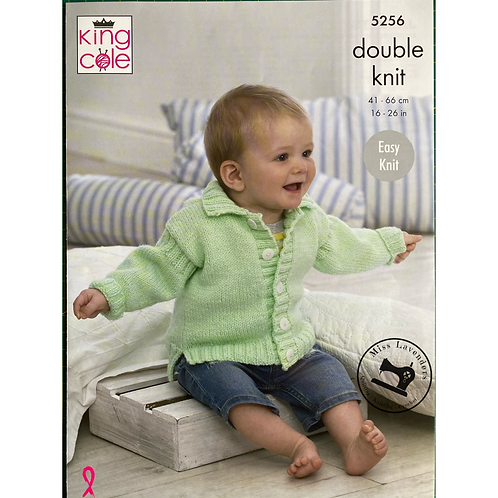 King Cole  Babies Hooded Jacket and Cardigan Double Knit DK - 5256