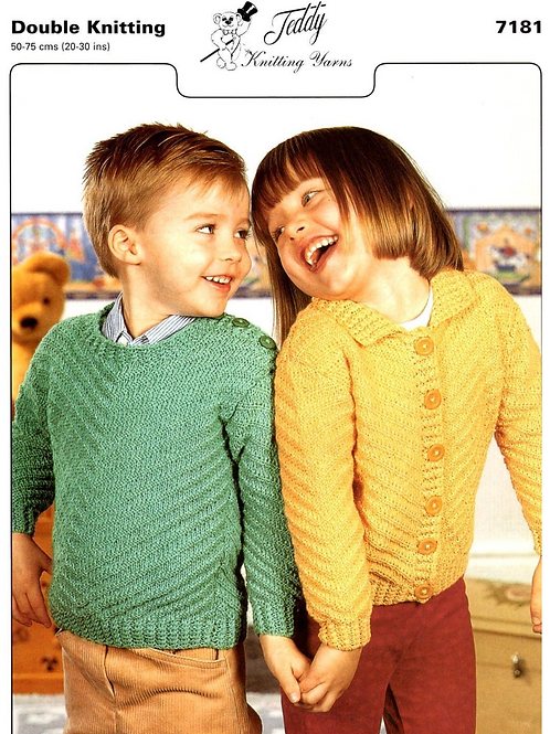 Teddy Baby/Childrens Cardigan and Sweater Knitting Pattern - 7181