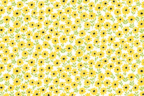Makower Sunny Bee - Daisies White Fabric