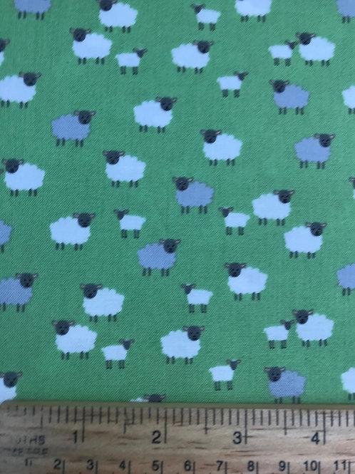 Makower Spring - Sheep Green Fabric