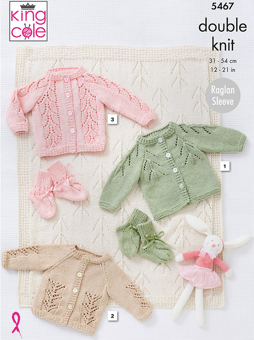 King Cole  Babies Cardigans, Bootees and Blanket  DK - 5467