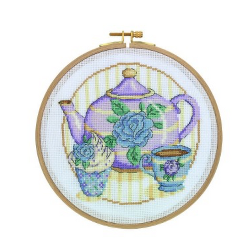 Tuva Cross Stitch Kit with Wooden Hoop -Afternoon Tea