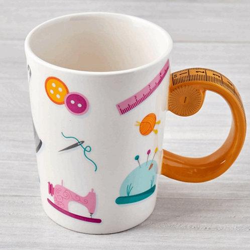 Tape Measured Shaped Handle Mug