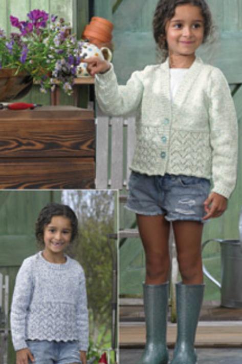 James C Brett Childrens Double Knit Sweater and Cardigan - JB730