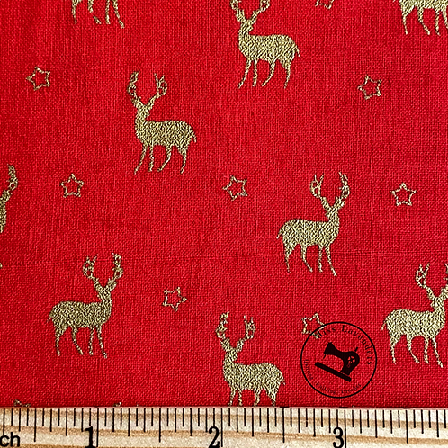 The Craft Cotton Co - Christmas Gold Stags Cotton Fabric - Red