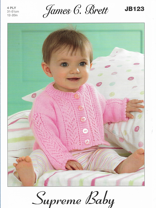 James C Brett Baby Cardigan 4PLY - Knitting Pattern JB123