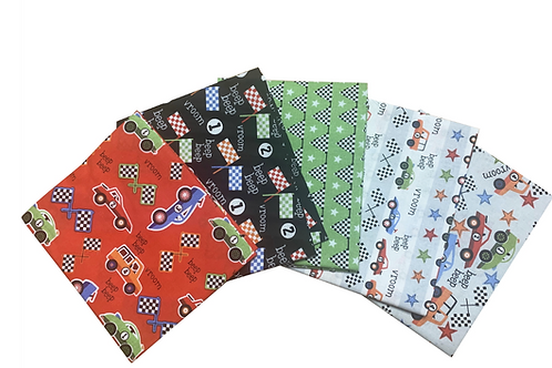 Racing Cars - Cotton Fat Quarters 5 Pack