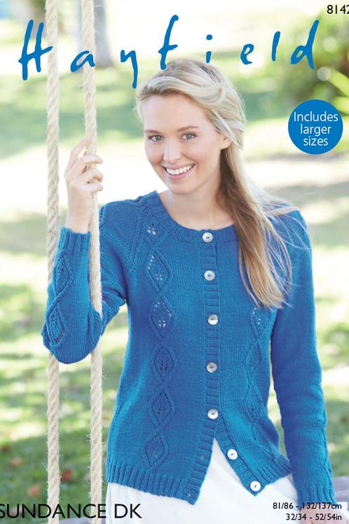 Hayfield Ladies Cardigan Knitting Pattern - DK 8142