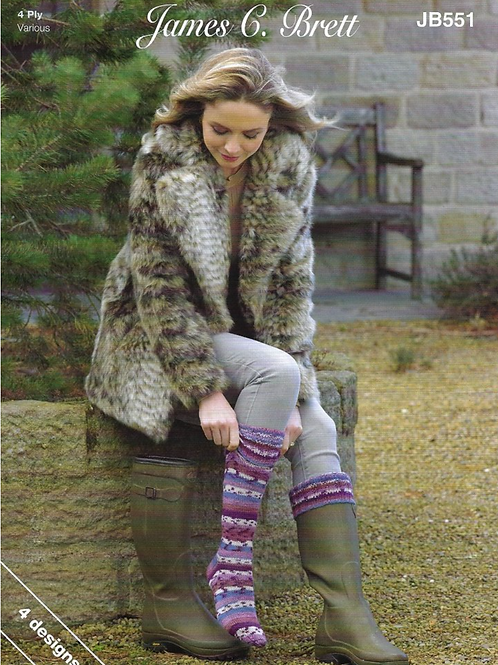 James C Brett Adult Sock 4ply - Knitting Pattern - JB551