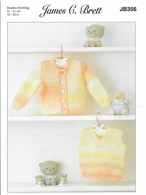 James C Brett Baby Cardigan/Waistcoat Double Knit DK - Knitting Pattern JB356