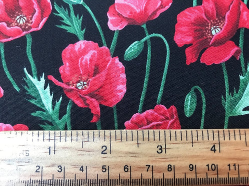 Poppies Fabric - Red Poppies on a Black Background