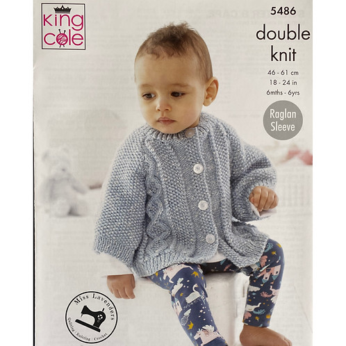 King Cole  Babies Cape and Sweater Double Knit DK - 5486