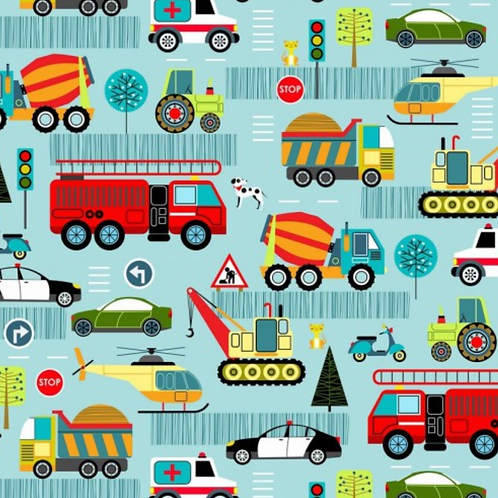 Around Town Road Vehicles Light Blue Fabric - 100% Cotton