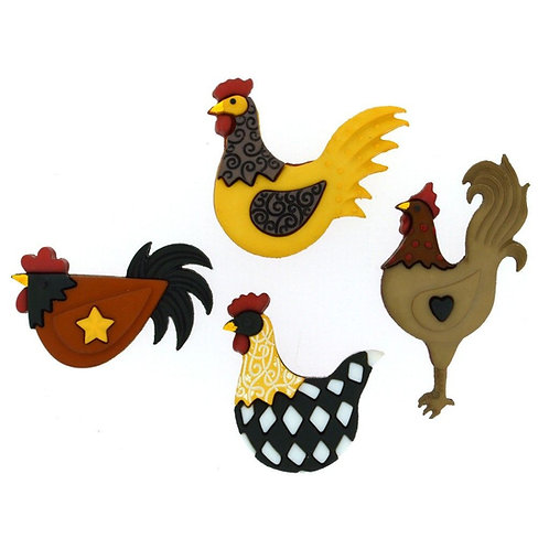 Hen House Chickens Novelty Buttons by Dress it up