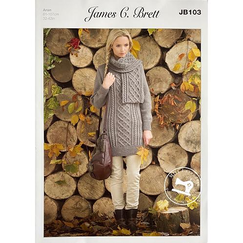 James C Brett - Adult Sweater and Scarf - Aran JB103