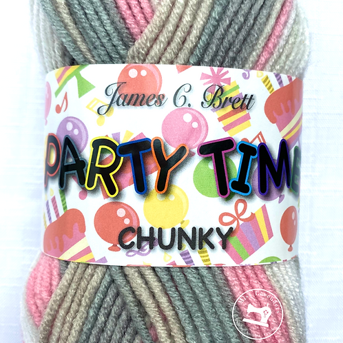 James C Brett Party Time Chunky 100g - PT11 Pink/Grey