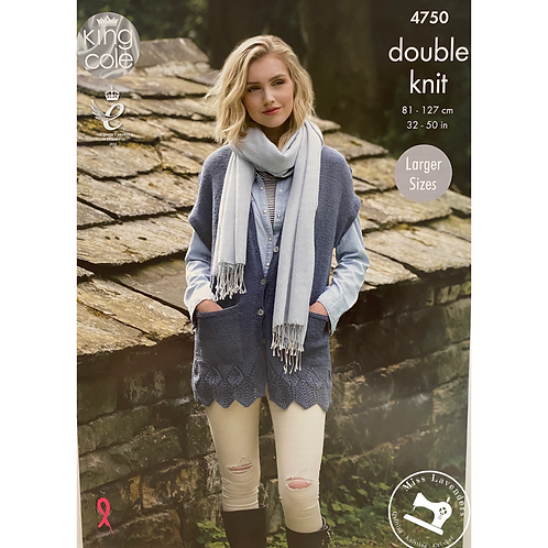 King Cole Adults Waistcoat Double Knitting DK -4750