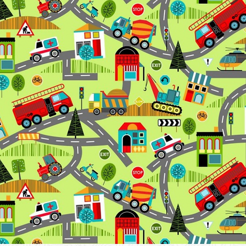 Around Town Road Map Green Fabric - 100% Cotton