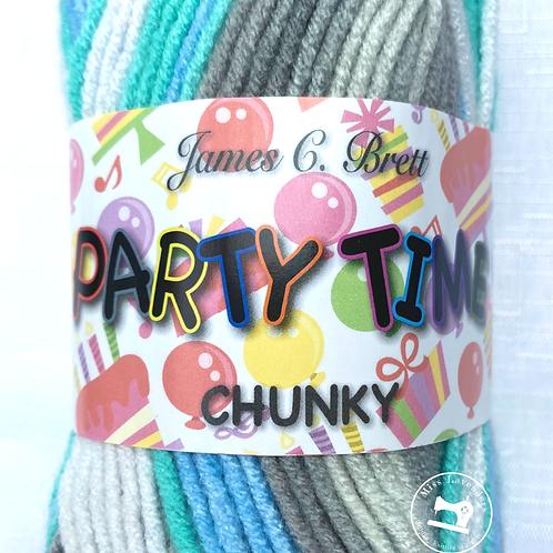 James C Brett Party Time Chunky Grey/Blue/White - PT13