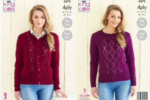King Cole Ladies Cardigan and Sweater - 4PLY - Knitting Pattern - 5473