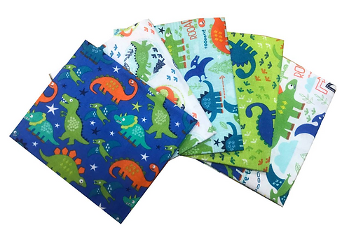 Dinosaur Adventure Cotton Fat Quarters 5 Pack