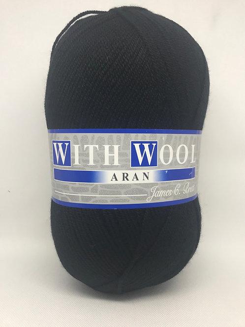 James C Brett Aran with Wool 400g - Black 4AR27