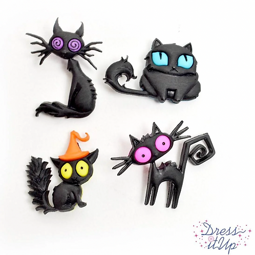 Dress It Up Buttons - Creeped Out Cats Halloween - 9486 -  Children