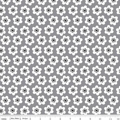 Riley Blake Delilah Floral Grey Fabric