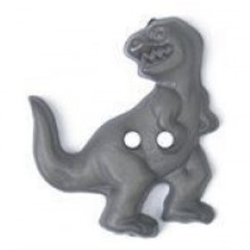 Grey 2 Hole T-Rex Dinosaur 31mm Button