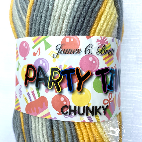 James C Brett Party Time Chunky - Yellow/Grey/White - PT9