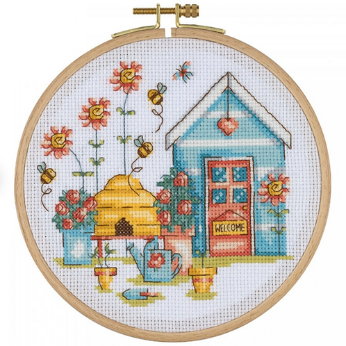 Cross Stitch Kit - Bee Hive and House