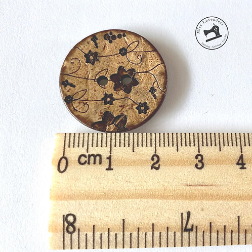 Buttons Natural Wood with Floral Pattern - 2 Hole - 25mm