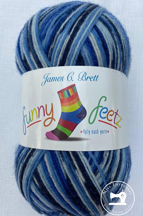 James C Brett Funny Feetz 100g 4ply Sock Wool - Blues FZ04