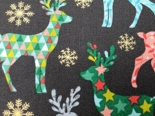 Makower Merry Reindeer Grey Fabric - Christmas Reindeers