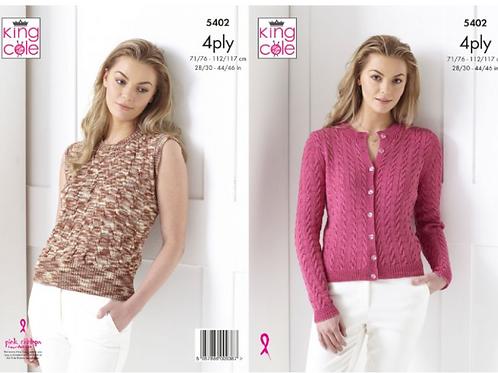 King Cole Ladies Cardigan & Summer Top - 4PLY - Knitting Pattern - 5402
