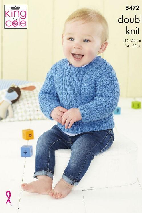 King Cole  Babies Cardigan and Jumper - Double Knit DK - 5472