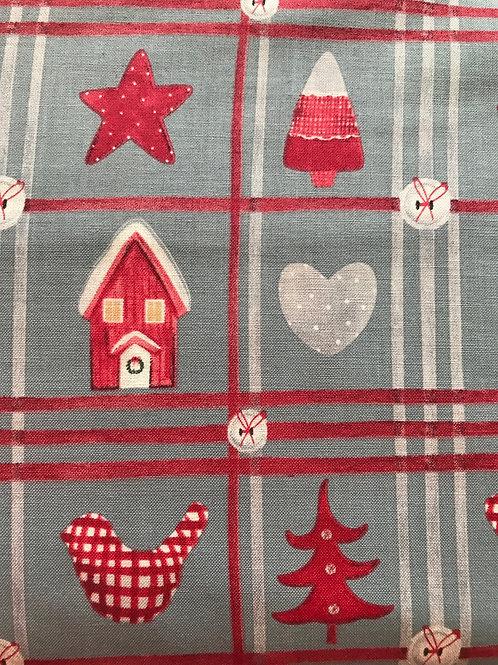 Christmas Fabric Light Grey Hearts and Houses