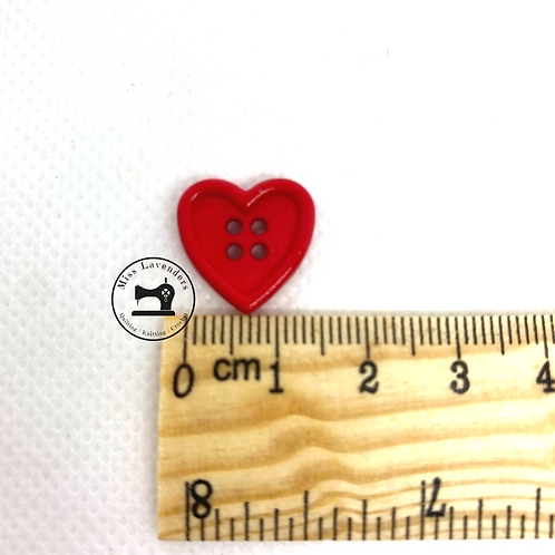 Buttons Red 4 Hole Heart Shape 15mm