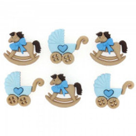 Horse & Buggy - Boy Novelty Buttons by Dress It Up