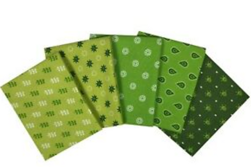 Craft Cotton Essential Trend Lime Green  - Cotton Fat Quarters - 5 Pack
