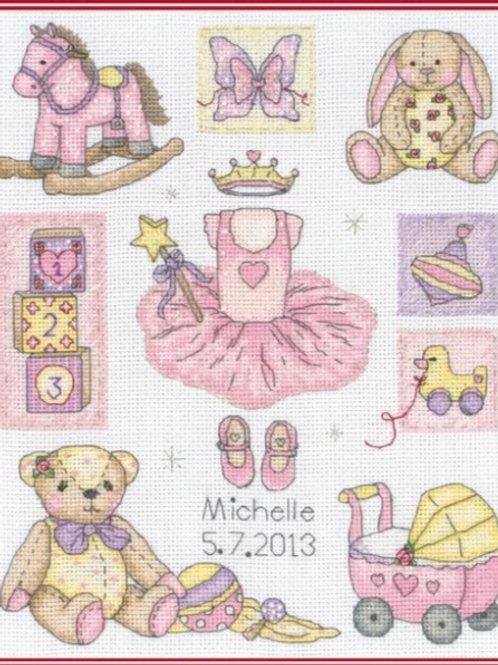 ANCHOR CROSS STITCH KIT - Girl Birth Sampler - ACS38
