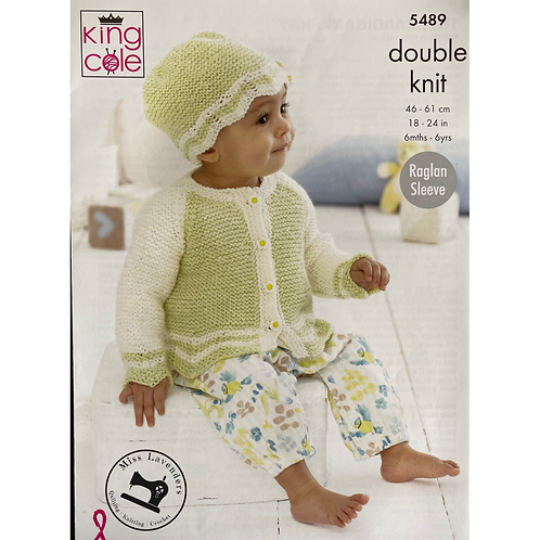 King Cole  Babies Cardigan, Hat and Sweater Double Knit DK - 5489