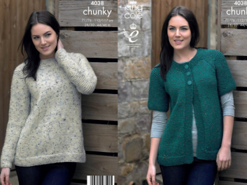 King Cole Ladies Sweater & Cardigan Chunky - Knitting Pattern - 4038