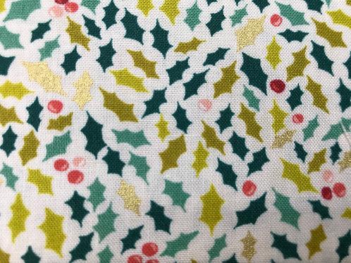 Makower Merry Holly Fabric - Christmas